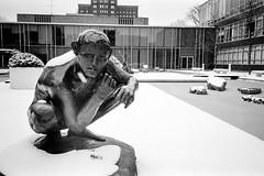 AA021-3 (elsuperbob) Tags: sculpture snow architecture kodak michigan detroit modernism waynestateuniversity olympusxa faun trix400 minoruyamasaki giacomomanz
