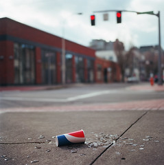 Stories, pt. B (Zeb Andrews) Tags: film mediumformat square portland downtown hasselblad sidewalk redwhiteandblue analogphotography spilled urbanfragments hasselblad500c kodakektar100 pepsiorcoke softdrinkmeethardsidewalk