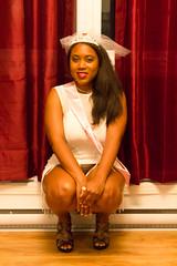 Bac-111 (O Harris) Tags: portrait people woman canada tiara girl smiling canon model highheels dress ottawa velvet indoors event brunette mujeres blackgirl hardwood crouching sheer 2016