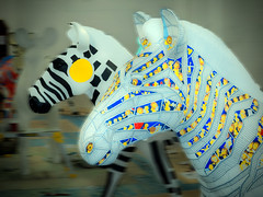 Zebras II (The Image Den) Tags: availablelight workinprogress indoor publicart southampton artworks marwellzoo arttrail zanyzebras