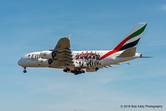 Emirates Airlines - AC Milan livery (Bob from Caledon) Tags: aircraft airplanes aeroplanes arrivals emiratesairlines a380800 cyyz a388 runway05 torontointernationalpearsonairport a6eet acmilanlivery
