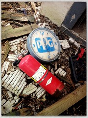 The fire next time (plasticfootball) Tags: abandoned clock illinois marine ppg fireextinguisher hipstamatic lowylens robustafilm bkmeat