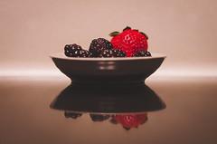Treasure Trove 117/366 (Watermarq Design) Tags: stilllife reflection fruit lowlight strawberry blackberries project366