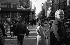 Ice Grill (adrianmojica) Tags: street leica blackandwhite bw monochrome chelsea kodak manhattan streetphotography monochromatic pedestrians crosswalk kodakfilm leicam6 kodaktrix400 leicam leicarangefinder