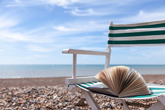Open breezy spaces in shades of green and aqua blue (penwren) Tags: ocean sea england beach reading sussex book pages stripes breeze southcoast openbook may1st penelopefewster