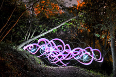 * Gribouillage nocturne * (-ABLOK-) Tags: trees light tree nature colors night forest writing painting nice long exposure lumire space magic graff technique nocturne forme magie arabesque nissa abstrait courbe calligraphie geste fluide