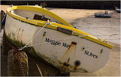 Maggie May (Audrey A Jackson) Tags: white colour beach yellow boat rust cornwall harbour rope chain stives maggiemay canon60d