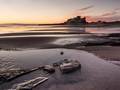 Bamburgh Castle (Steve_Mallett) Tags: bamburgh northumberland england sescape beach sunrise coast bamburghcastle rockpools