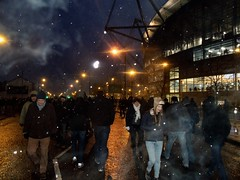 Etihad Stadium, Manchester, UK (Paul-M-Wright) Tags: uk england people snow night manchester shower football stadium ground fans supporters manchestercity mcfc eastlands cityofmanchesterstadium etihad