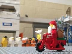 Coming to town, er, base... (redlegorev) Tags: santa classic saint lego space nicholas motorcycle claus base