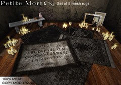 Petite Mort- Macabre rug collection (Petite Mort- Outfitting the modern bohemian) Tags: life house art home dark carpet witch mort gothic goth haunted sl decorating tarot second rug decor petite ouija petitemort
