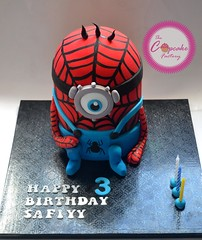 Spiderminion (The Cupcake Factory Barbados) Tags: birthday blue boy red black cakes spider spiderweb spiderman superhero vanilla 3rd fondant minion
