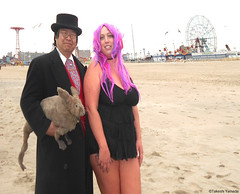 Dr. Takeshi Yamada and Seara (Coney Island Sea Rabbit) at the winter swimming event by the Coney Island Polar Bear Club at the Coney Island Beach in Brooklyn, New York on January 17 (Sun), 2015.  mermaid.  20160117Sun DSCN3477=. Kim Zirino (searabbits23) Tags: winter ny newyork sexy celebrity art beach fashion animal brooklyn asian coneyisland japanese star yahoo costume tv google king artist dragon god cosplay manhattan wildlife famous gothic goth performance pop taxidermy cnn tuxedo bikini tophat unitednations playboy entertainer samurai genius donaldtrump mermaid amc mardigras salvadordali billclinton hillaryclinton billgates aol vangogh curiosities bing sideshow jeffkoons globalwarming takashimurakami pablopicasso steampunk damienhirst cryptozoology freakshow barackobama polarbearclub seara immortalized takeshiyamada museumofworldwonders roguetaxidermy searabbit ladygaga climategate
