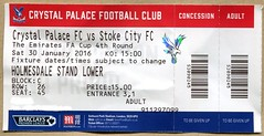 Palace v Stoke (FA Cup ticket 2016) (The Wright Archive) Tags: park city uk london cup 30 stand football crystal 26 seat soccer c january saturday ticket palace row 45 round match block lower fourth stoke fa tier versus 2016 selhurst 1500 holmesdale