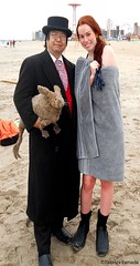 Dr. Takeshi Yamada and Seara (Coney Island Sea Rabbit) at the winter swimming event by the Coney Island Polar Bear Club at the Coney Island Beach in Brooklyn, New York on January 17 (Sun), 2015.  mermaid.  20160117Sun DSCN3457=0020pC1 (searabbits23) Tags: winter ny newyork sexy celebrity art beach fashion animal brooklyn asian coneyisland japanese star yahoo costume tv google king artist dragon god cosplay manhattan wildlife famous gothic goth performance pop taxidermy cnn tuxedo bikini tophat unitednations playboy entertainer samurai genius donaldtrump mermaid amc mardigras salvadordali billclinton hillaryclinton billgates aol vangogh curiosities bing sideshow jeffkoons globalwarming takashimurakami pablopicasso steampunk damienhirst cryptozoology freakshow barackobama polarbearclub seara immortalized takeshiyamada museumofworldwonders roguetaxidermy searabbit ladygaga climategate