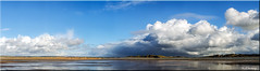 Storms and Sand Dunes (Boba Fett3) Tags: sea sky seascape storm weather clouds skyscape outside outdoors seaside sand dunes panoramic devon westcountry northdevon westwardho canon1d adobephotoshopelements canon100mm28l