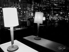 Lamp reflection (rakelgoiri) Tags: street blackandwhite toronto reflection blancoynegro lamp monochrome night starbucks reflejo lampara monocromatica