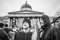 20160302_F0001: Anonymous in London (wfxue) Tags: street people blackandwhite bw london metal mask candid crowd protest guyfawkes trafalgarsquare nationalgallery anonymous protesters