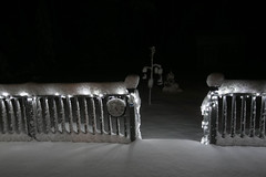 Backyard by Night  02.05.16 (rowland-w) Tags: winter snow night dark lights maine kennebunk wintry