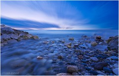 Lake Michigan (gurungbijaya88) Tags: longexposure blue lake water clouds stones lakemichigan canon6d