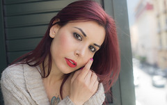 Amanda Witchcraft (elparison) Tags: window face breast tits bra wait downblouse
