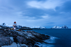 Kabelvag lighthouse (Lukasz Lukomski) Tags: longexposure sea sky lighthouse mountains water norway clouds digital landscape coast norge europa europe scandinavia lofoten woda morze chmury niebo latarnia sigma1020 kabelvag krajobraz norwegia wybrzeże skandynawia lofoty nikond7200 lukaszlukomski
