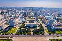 Aerial view of Pyongyang City (reubenteo) Tags: sunset building sunrise landscape asia korea communist communism kimjongil socialist socialism northkorea pyongyang kimilsung kimjongun