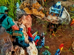 Heroes of the universe gather... (shefner77) Tags: world family boy summer trooper man scale nature wonder fun gijoe toys outdoors star climb jones spider backyard rocks iron child play place display little action small spiderman indiana super scene ironman fantasy actionfigures duster comicbook superhero gathering planet scifi mission imagination sciencefiction heroes fatherandson marvel clone universe mighty discovery diorama heroic hasbro assembly 118 pretend 375 334 starduster