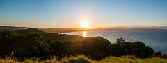 Byron Bay Sunset Panorama (ArcticZeppelin) Tags: ocean new sunset panorama sun lighthouse beach wales landscape bay sand surf pacific south australia nsw newsouthwales byron byronbay pacifcocean capebyron byronlighthouse
