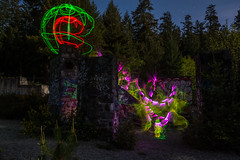 Pacman (~138~) Tags: longexposure light canada lightpainting abstract black colour green art colors night ball dark fun lights cool nightlights colours bc purple awesome vancouverisland sphere dome paintingwithlight trippy streaks lightart lightpaint singleexposure gowlandtodd
