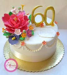 60TH Birthday cake! (The Cupcake Factory Barbados) Tags: birthday flowers red cake velvet peony sugar swirl 60th fondant gumpaste