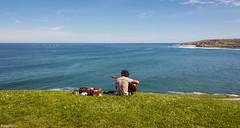 Cantbrico. (Eugercios) Tags: blue sea espaa verde praia azul mar spain espanha europa europe gijn guitarra asturias paisaje paisagem gijon hierba relva asturies xixn asturiano astrias espaaverde principadodeasturias