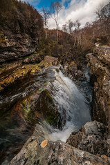 Long way down (cheese and pickle) Tags: uk trees sky orange color colour tree water yellow clouds rural river season walking outdoors scotland waterfall scenery rocks pretty seasons unitedkingdom britain outdoor scenic ridge gorge rugged scottishhighlands