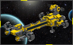 GHL Mammoth MkII -Unloaded- (OrangeKNight) Tags: yellow dark grey lego space transport cargo micro spaceship freight containers bluish ldd glh bley microscale