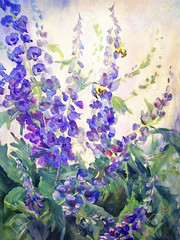 Wallpaper (sydney.stephanie) Tags: park blue original summer plant flower art nature modern illustration digital garden watercolor painting season insect botanical sketch leaf stem artwork colorful paint acrylic purple artistic blossom gardening drawing decorative background aquarelle violet bee bumblebee entertainment lilac oil wildflowers delphinium lupine impressionistic realistic brushstroke zzzaigaaakeegfgmhagigjgogjhfgn