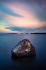 Sunset on the rocks (Olli Tasso) Tags: ocean longexposure sunset blur beach water rock clouds espoo finland landscape evening spring scenery colorful view cloudy peaceful calm filter april serene polarizer kivi meri maisema itmeri auringonlasku haukilahti ndgrad