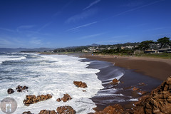 Cambria, CA-California-Central-Coast 2016-04-15 (randyandy101) Tags: ocean california sea sky people panorama sun seascape reflection beach water rock clouds landscape outdoors photography coast seaside sand rocks whitewater surf waves view outdoor offshore shoreline bigsur rocky bluesky cliffs shore vista coastline cambria lowclouds sanluisobispo parkhill moonstonebeach shimmering seafoam californiacentralcoast cambriaca shamelpark bigsurhighway santarosaestuary santarosacreekestuary
