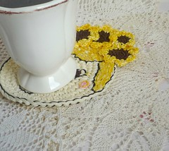 sunflower girl crochet coaster2 (MonikaDesign) Tags: handmade crochet sunflower happyface homedecor tabledecor kitchendecor crochetdoll crochetart crochetcoasters monikadesign