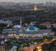 Faith and politics (vedd) Tags: architecture muslim islam faith politics parliament canonef50mmf18 malaysia bluehour kualalumpur hdr nationalmosque vertorama vedd canoneos60d