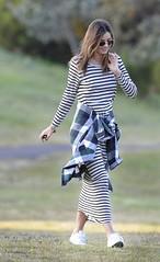 Miranda Kerr (tuyetnhung_ninh) Tags: blackandwhite sunglasses dress photoshoot candid stripes fulllength sydney australia sneakers nsw exclusive midriff plaidshirt longdress mirandakerr