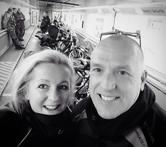 """Euro Stars"" (Missy Jussy) Tags: travel portrait people bw selfportrait monochrome bike train mono blackwhite eurostar transport motorcycle selfie channeltunnel trevorkerr justinestuttard"