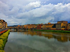 Florence in the rain (archidream) Tags: sky reflection river florence nuvole cloudy tuscany colored firenze arno toscana raining oldbridge nuvoloso rapinino