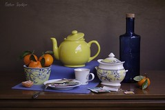 Teapot of Calm (Esther Spektor - Thanks for 11+ millions views..) Tags: blue stilllife orange brown white reflection green cup glass yellow tangerine fruit composition canon bottle pattern plate stilleben spoon bowl placemat teapot citrus arrangement teabag tabletop lid bodegon sugarbowl cobalt naturemorte naturamorta naturezamorta creativephotography artisticphoto estherspektor ceramicsavailablelight
