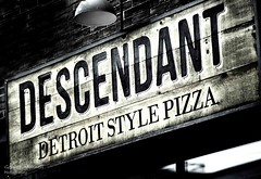Detroit Style Pizza (G. Maxwell) Tags: food signs toronto ontario blackwhite places olympus zuiko queenstreet streetscenes em1 2016 olym75mmf18