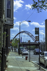 Bloomingdale Trail bridge east pic20 4-25-2016 (Artemortifica) Tags: street bridge sky chicago cars clouds buildings construction blueline crane bikes graffity milwaukee western trucks damen