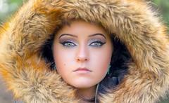 Jessica (rameses135) Tags: light beautiful beauty female fur photography photo model eyes shoot photoshoot natural availablelight feminine sony femme makeup naturallight photograph attractive stunning hood femalemodel lightroom locationshoot