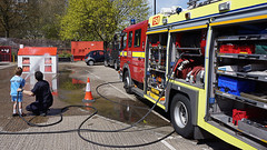 Trying Out the Hose (McTumshie) Tags: england house water unitedkingdom spray hose fireengine firemen firestation croydon firebrigade openday londonist londonfirebrigade lfb 1may2016