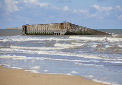 """""""Mulberry harbour"""" remains, Arromanches-les-Bains, Normandie, France (Thierry Hoppe) Tags: france beach seaside ruins harbour outdoor rusting normandie dday remains mulberryharbour arromancheslesbains portwinston"""