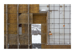 Inside the wall (hvb72) Tags: winter orange snow cold yellow canon iceland construction akureyri