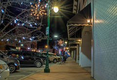 Not a Creature Was Stirring... (tquist24) Tags: christmas longexposure trees urban tree night geotagged lights nikon mainstreet downtown unitedstates indiana sidewalk elkhart hdr starburst nikond5300